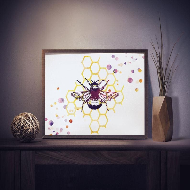 watercolor bee print for a bee gift idea